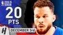 Blake Griffin Full Highlights Pistons vs Thunder 2018.12.03 - 20 Pts, 4 Ast, 5 Rebounds!