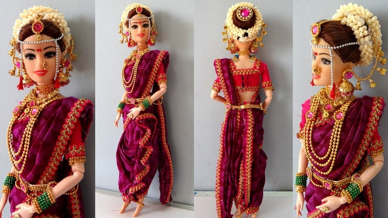 Barbie doll MARATHI saree making How to make saree for barbie doll Indian bridal doll jewellery