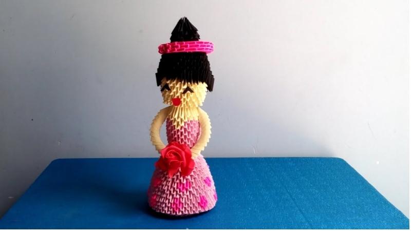Hướng dẫn làm cô dâu bằng giấy xếp nghệ thuật origami 3d - How to make a bride by 3d origami