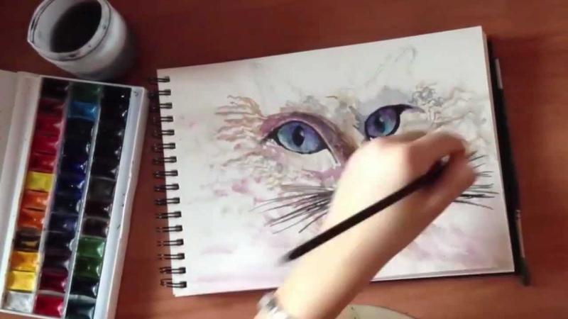 Рисунок акварелью.Кошка / Watercolor drawing.Cat