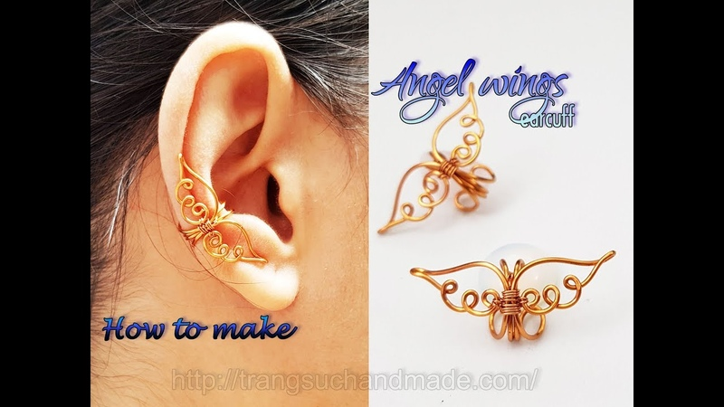Angel wings earcuff - How to make simple jewelry for Christmas 434