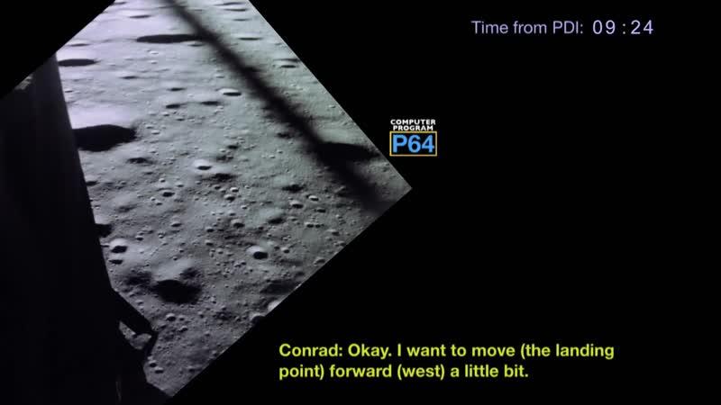 Apollo 12 landing from PDI to Touchdown