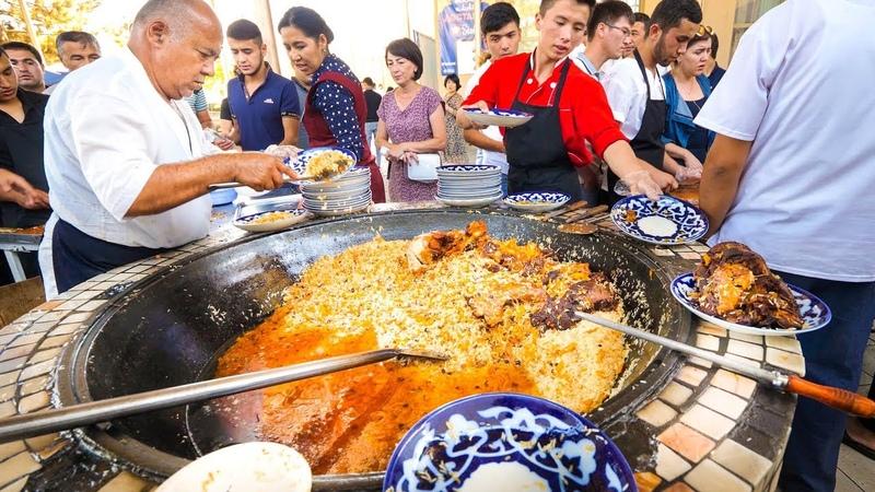 Street Food in Uzbekistan - 1,500 KG. of RICE PLOV (Pilau) Market Tour in Tashkent!