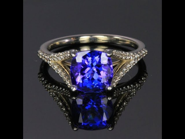 14K White Gold Square Cushion Tanzanite and Diamond Ring