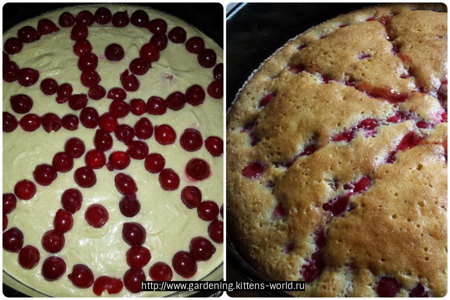 Домашний пирог с вишней