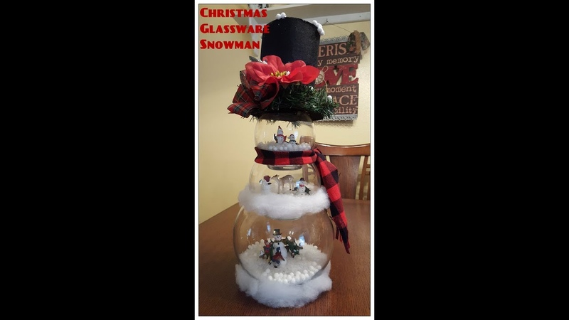 Tricia's Creations Christmas Glassbowl Snowman Decor