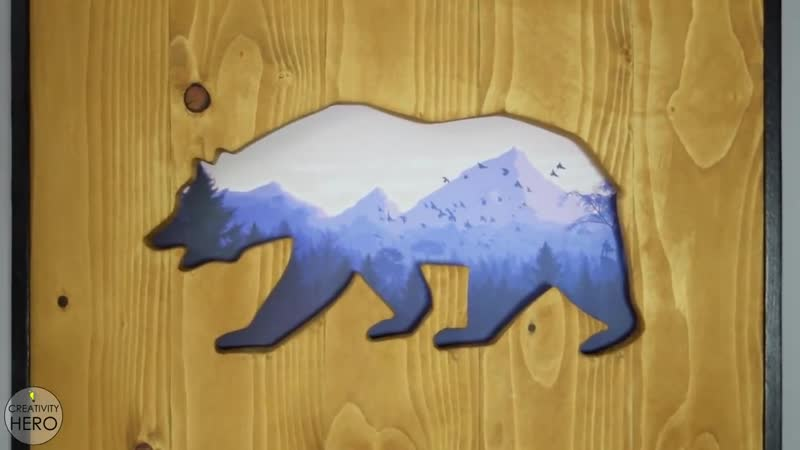Рисунок в дереве DIY Wall Art_ Reclaimed Wood Cut-Out with a Picture within