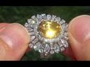 GIA Certified Estate Natural VVS Yellow Sapphire Diamond 18k Gold Engagement Ring - A141476