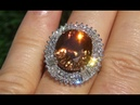 GIA Certified Estate 17.78 ct Natural Orange Zircon Diamond 14k White Gold Vintage Ring - A131509