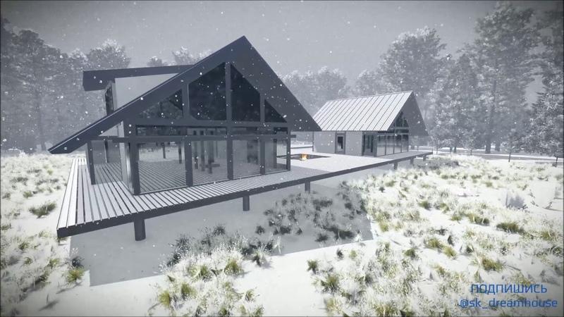Дизайн домов. Берген Опти Макси. Зима. Облет