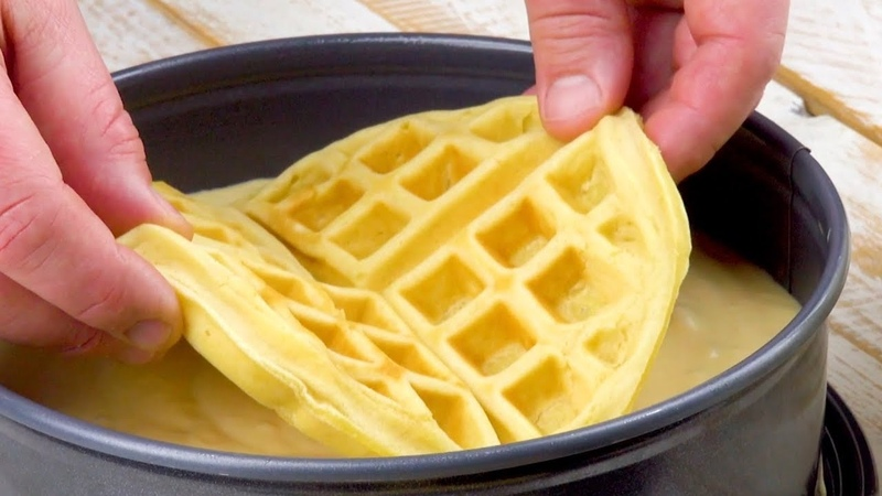 Берем 3 вафли и заливаем тестом Оригинальный трюк для идеального десерта