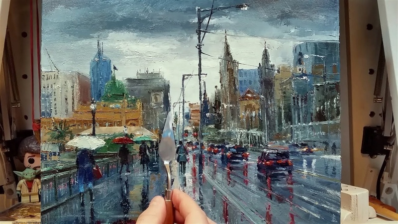 In the Rain - Normal Speed - Palette Knife | Brush Oil Painting - Dusan