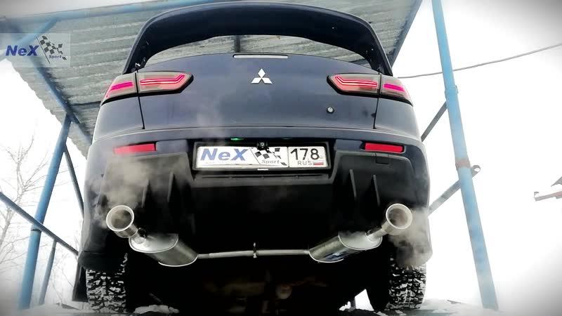 NeX® Mitsubishi Lancer X Restyle 2011 ЭКСКЛЮЗИВ Глушитель раздвоенный насадки Ø101 мм ЛУЧШЕЕ