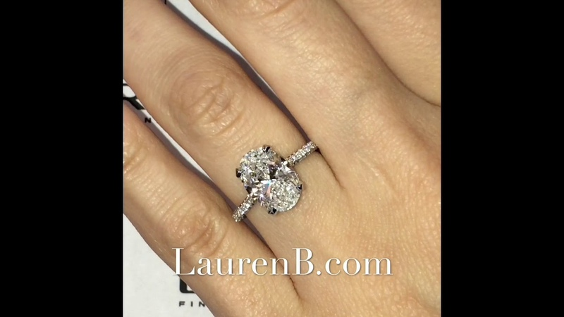 2.85 carat Oval Diamond Pave Engagement Ring