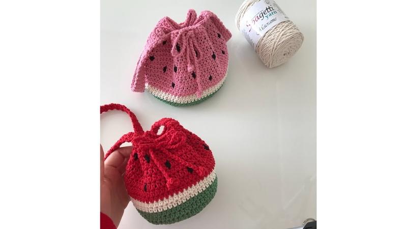 Makrome ip ile karpuz çanta yapımı -2 ( kız çocukları için bayramlık örgü çanta )