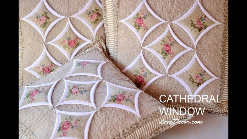 Patchwork tutorial Cathedral Window - Chrámová okna LizaDecor