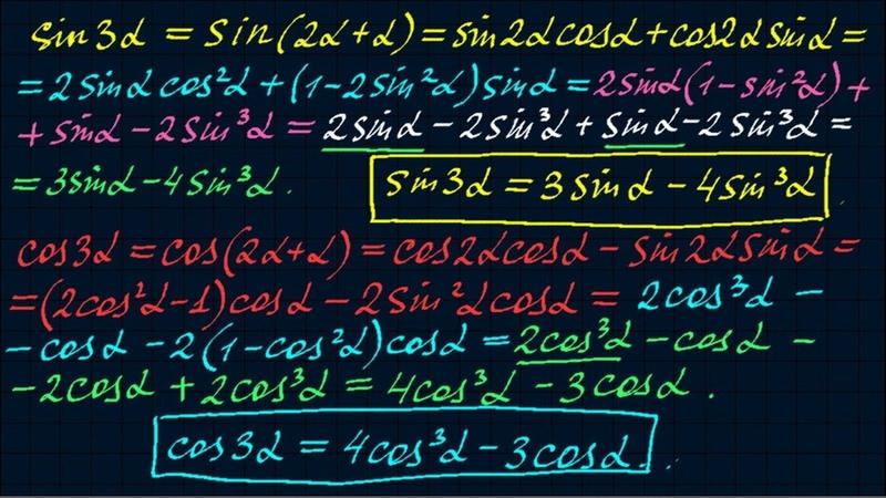 Синус и косинус тройного угла Тригонометрия 11