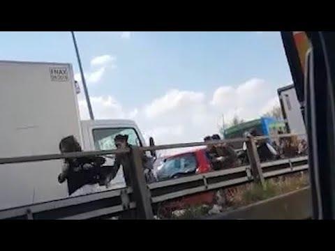 Horrific moment kids run in fear after Senegalese man hijacks bus