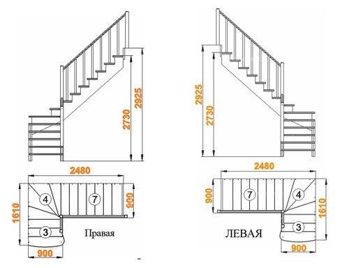 Выбор и просчет маршевой конструкции лестницы определяется шириной проема и высотой помещения.