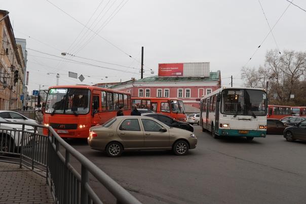 Автобусная пробка.