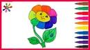 Рисуем радужный цветок.Draw a rainbow flower.Раскраски для детей.