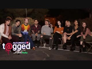 the cast of T@gged play Heads Up