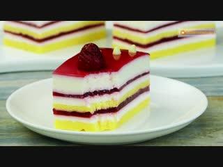 Самый легкий и очень вкусный десерт - пирожное с муссом из белого шоколада и малиной! _ Appetitno.TV