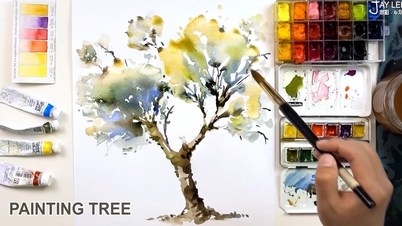 How to Paint a Tree with Watercolors (Easy Quick)