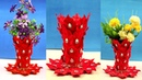 How to Make Flower Vase at Home - Waste Plastic Pot Flower Vase - Flower Vase Ideas