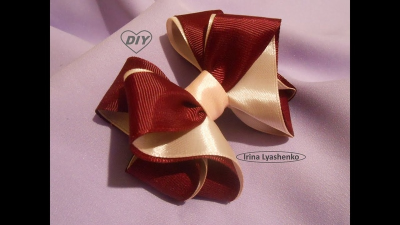 Бант для школы 2,5см МК/ Bow of ribbon 2,5cm DIY/PAP Laço da fita 2,5cm Tutorial 131