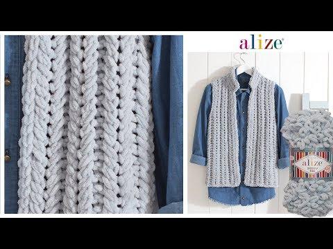 Alize Puffy Fine ile Spor Yelek - Vest with Alize Puffy Fine