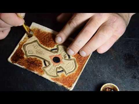 Чем полировать края кожи.Женский кошелёк с Иисусом.10ч. Эксклюзивные изделия из кожи.