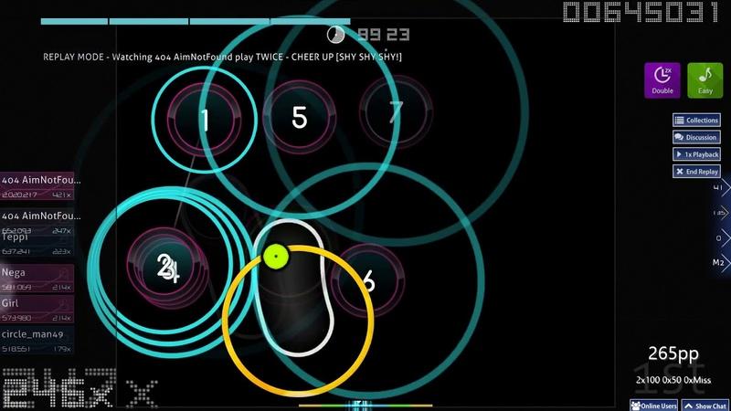 Osu! | 404 AimNotFound | TWICE - CHEER UP [SHY SHY SHY!] EZ,DT 98.97 FC 418pp