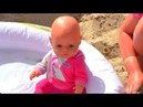 Dolls swimming at the sea pool Toys and kids videos