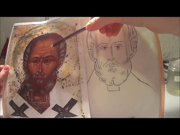 Икона Святителя Николая Сводим кальку, отрисовываем плави