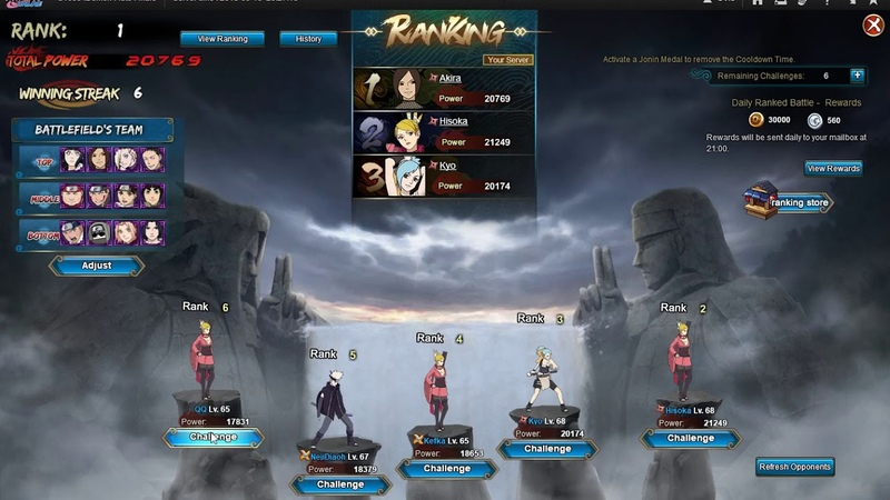 Naruto ナルト Online NS D22 5th 1st 9 Event with Defeat Captured a Rank Battle check for my 3 chars