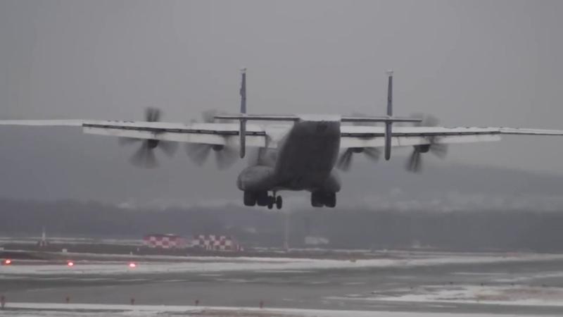 Giant Russian An-22 CROSSWIND LANDING