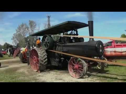 Работа лесопилки от парового трактора