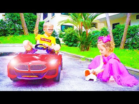 Max and Arina Pretend Play with Ride On Car Toy