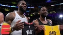 LeBron James, Dwyane Wade hug, swap jerseys in final meeting as Lakers win vs. Heat NBA Highlights