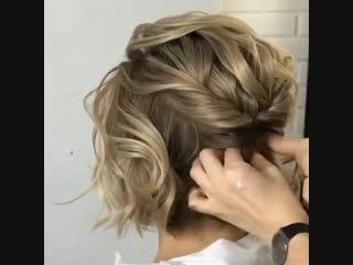 Вечерняя прическа на коротких волосах