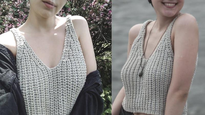 ИНСТА-ТОП за ВЕЧЕР спицами! Вязание спицами с Юлей Лодыревой. Knitted v-neck top.