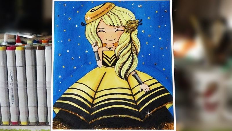 How to draw a dress for the princess with glitter ✨ - Queen Bee 🐝 Coloring