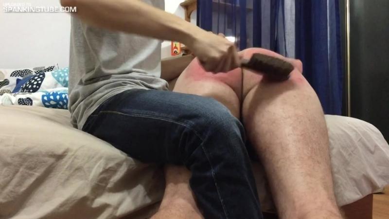 Hand and brush spanking