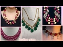 Beautiful ruby,emerald and pearls statement long necklace styles