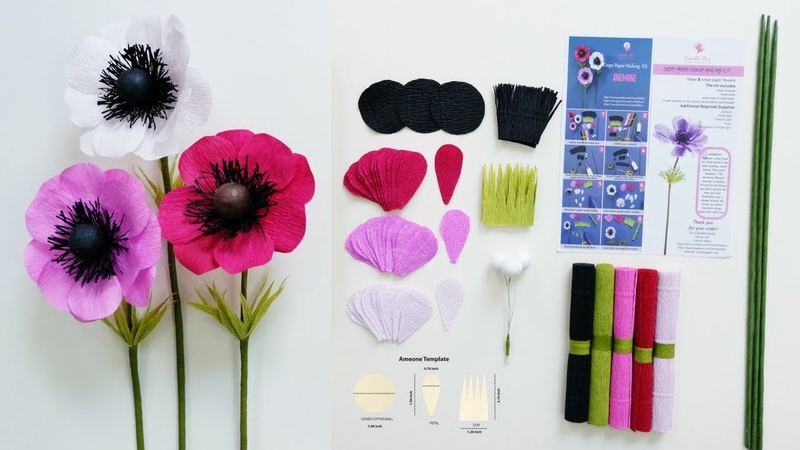 How to make paper flower Anemone from crepe paper - Unboxing and step by step tutorial