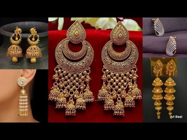 Beautiful Gold Earrings Designs 2019 - Party Wear Bridal Gold Jhumkas
