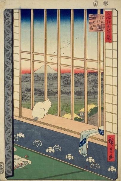 Старенькая японская картинка - ксилография укиё-э XVIII века. Вроде, все просто – миленький котик, за окном «пейзажек». Но, оказывается, есть, есть смысл сокровенный. Натурально – детектив. А