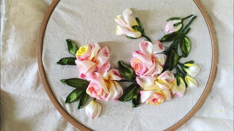D.I.Y Ribbon Embroidery Acrylic Rosa / Hướng dẫn thêu hoa hồng tô mà