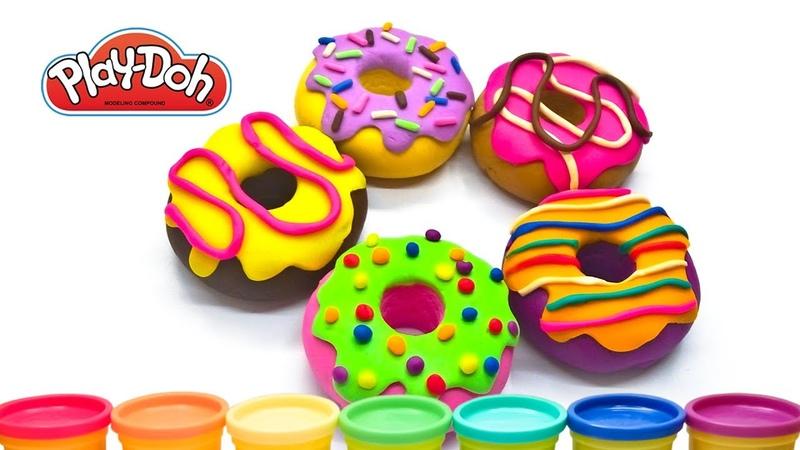 Как сделать Пончики из пластилина плей до Лепим Радужный Вкусный Пончик Донатс